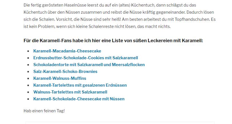 Screenshot Blog www.ichmussbacken.com, Interne Links als Liste