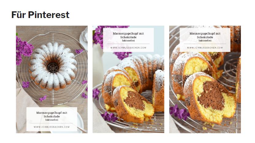Blogbeitrag Reichweite erhöhen: Beispiel für Pins am Ende eines Beitrags; gezeigt werden Pins zum Marmorgugelhupf.