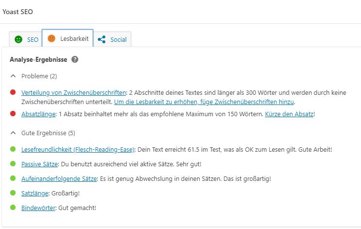 Screenshot Yoast-Analyse zur Lesbarkeit, Blog ichmussbacken.com, Juli 20