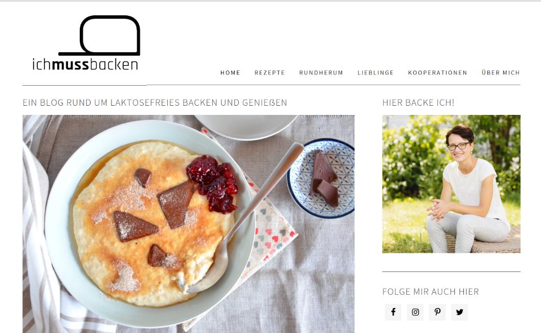 Die alte Startseite des Blogs www.ichmussbacken.com im August 2018, vor der Design-Überarbeitung