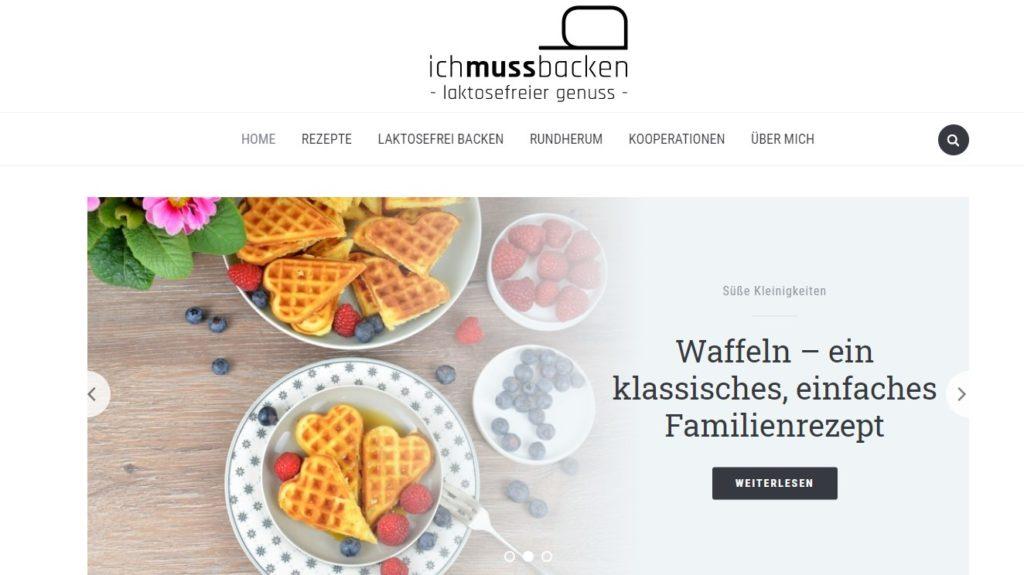 Screenshot Blog www.ichmussbacken.com, neues Webdesign ab Mai 2019