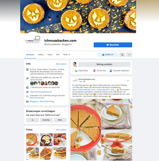 Screenshot Facebook-Seite von ichmussbacken.com, Eva Dragosits, 25.10.20