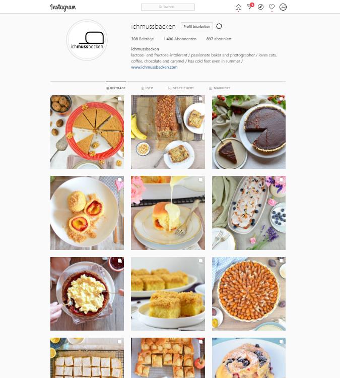 Screenshot Instagram-Account von ichmussbacken.com, Eva Dragosits, 25.10.20